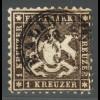 Württemberg: 1862, Wappen 1 Kr. dunkelgraubraun (erhöht gepr. Heinrich BPP)
