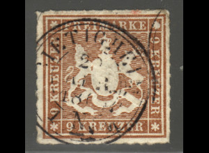 Württemberg: 1865, Wappen 9 Kr. rötlichbraun (zentrischer Kreisstempel)