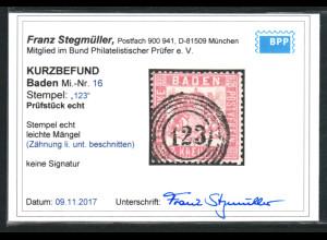 "Baden: 1862, Wappen 3 Kr. zentrischer Fünfringstempel ""123"" (Kurzbefund BPP)"