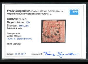 Bayern: 1862, Ziffern 18 Kr. bessere Farbe orangerot,