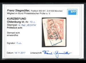 Oldenburg: 1861, Staatswappen 2 Gr. orange, optisch ansprechendes Briefstück