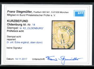"Oldenburg: 1861, Staatswappen 3 Gr. graugelb, zentr. blauer K2 ""OLDENBURG"""
