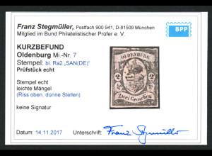Oldenburg: 1859, Staatswappen 2 Gr. schwarz auf rötlichkarmin, Kurzbefund BPP