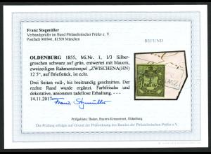 Oldenburg: 1852, Hauswappen 1/3 SGr. schwarz auf grün (Fotobefund BPP)