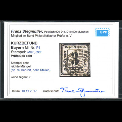 Bayern: 1862, Portomarke 3 Kr. geschnitten, Kurzbefund Stegmüller BPP