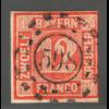 """Bayern: 1850, Ziffern 12 Kr. orange absolut zentr. offener Mühlradstempel """"598"""""""