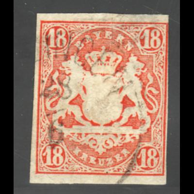 Bayern: 1867, Wappen 18 Kr. zinnober, (leichte Mängel, gepr. BPP)