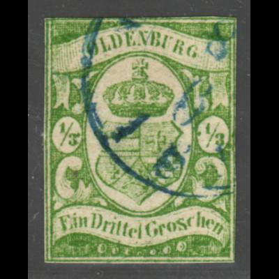 Oldenburg: 1859, Staatswappen 1/3 Gr. seltene Farbe moosgrün