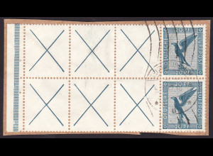 1931, Flugpost: RL + X + X + X + 20, 2 Zdr. auf Briefstück