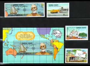 Samoa: 1974, 100 Jahre Weltpostverein (UPU, auch Motiv Schiffe)