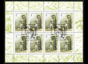 Sowjetunion: 1987, Kleinbogen Geschützte Tiere (Murmeltier, Esst, M€ 70,-)