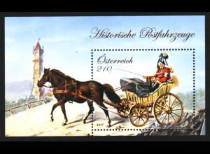 Österreich: 2017, Blockausgabe Historische Postfahrzeuge (V)