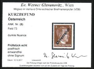 Österreich: 1945, Hitler 3 Pfg. unverausgabt (Kurzbefund)