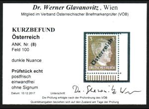 Österreich: 1945, Hitler 3 Pfg. unverausgabt (Eckrandstück unten rechts)
