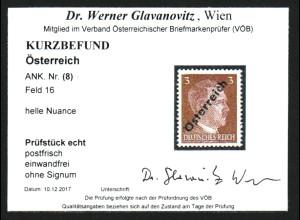 Österreich: 1945, Hitler 3 Pfg. unverausgabt bessere helle Type (Kurzbefund)
