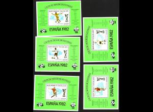 Togo: 1981, Blocksatz Fußball-WM Spanien (5 Silberblöcke, M€ 50,-)