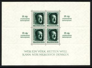 1937, Blockausgabe Reichsparteitag (2. Wahl mit Randfehlern, M€ 90,-)