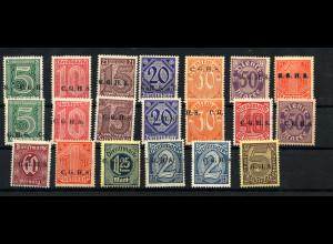 Oberschlesien: 1920, 1. + 2. Dienstmarkenausgabe Aufdruck C.G.H.S. komplett
