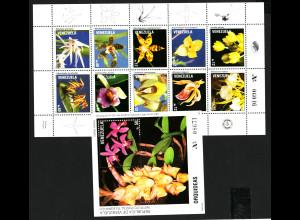 Venezuela: 1991, Orchideen (Kleinbogen und Blockausgabe)