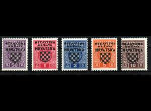 Kroatien-Portomarken: 1941, Überdruckausgabe komplett