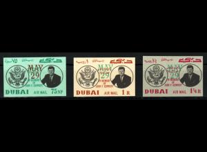 Dubai:1964, Überdruckausgabe Kennedy (ungezähnt)