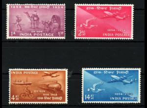 Indien: 1954, 100 Jahre indische Briefmarken (auch Motiv Flugzeug und Eisenbahn)