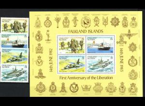 Falklandinseln: 1983, Jahrestag der Befreiung (Satz und Blockausgabe)