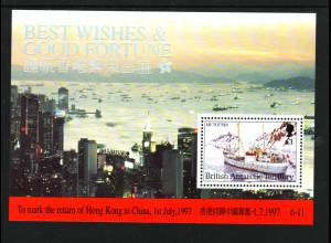Brit. Antarktisgebiete: 1997, Blockausgabe Rückgabe Hongkong an China (Schiffe)