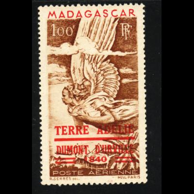 Madagaskar: 1948, Überdruckausgabe Entdeckung der Antarktis (Erstfalz)