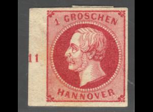 Hannover: 1859, König Georg 1 Gr. Randstück links mit Reihenzähler 11