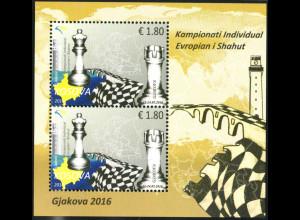 Jugoslawien - Kosovo (UNMIK): 2016, Blockausgabe Schach-Europameisterschaft