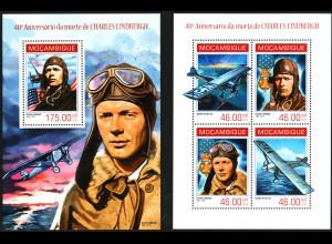 Mocambique: 2014, Charles Lindbergh (Kleinbogen und Blockausgabe)