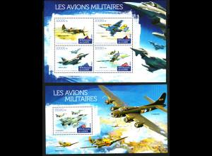 Guinea: 2015, Militärflugzeuge (Kleinbogen und Blockausgabe)