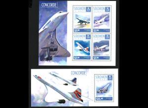 Salomon-Inseln: 2014, Concorde (Kleinbogen und Blockausgabe)