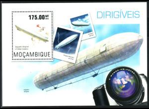Mocambique: 2014, Blockausgabe Luftschiffe (Motiv Zeppelin, Einzelstück)