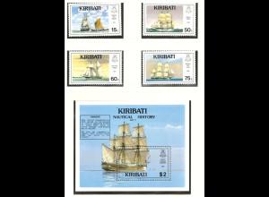 Kiribati: 1990, Segelschiffe (Satz und Blockausgabe)