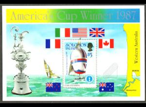 Salomon-Inseln: 1987, Blockausgabe Segelregatta um den Americas Cup