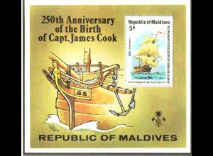Malediven: 1978, Blockausgabe James Cook (Historisches Segelschiff)