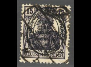 Allenstein: 1920, Ovalaufdruck 15 Pfg. bessere Farbe schwarzviolett
