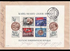 1953, Marx-Block auf kleinformatigem rückseitig frankiertem R-Brief