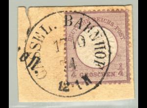 """Gr. Brustschild 1/4 Gr., Briefstück mit K1 """"Cassel Bahnhof"""" (M€ 130,-)"""