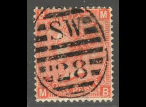 """Großbritannien: 1867, Königin Victoria 4 P. (ideal zentr. gestempelt """"SW 28"""")"""