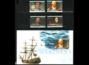 Irland: 2003, Marineoffiziere (auch Segelschiffe, Satz und Blockausgabe)