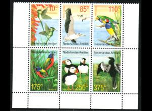 Niederländische Antillen: 2001, Vögel aus aller Welt (Sechserblock)