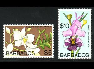 Barbados: 1974, Freimarken Orchideen, nur Höchstwerte 5 und 10 $