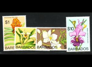 Barbados: 1974, Freimarken Orchideen, nur Höchstwerte 1 bis 10 $