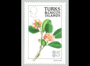 Turks- und Caicos-Inseln: 1990, Blumen 5 $ (Einzelstück)