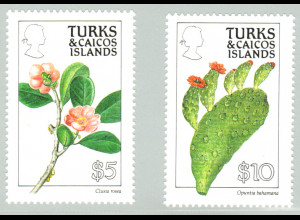 Turks- und Caicos-Inseln: 1990, Blumen 5 und 10 $