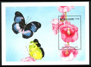 Sierra Leone: 1989, Blockausgabe Orchidee und Schmetterling