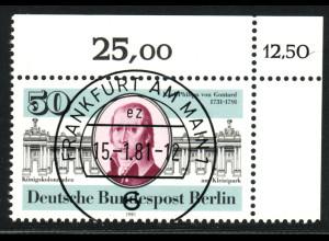 """1983, Philipp von Gontard, Eckrandstück """"FFM"""", korrigierte Bogenwertziffer"""